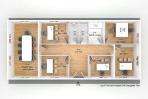 106 m2 Prefabrik Ofis & Yönetim Plan A