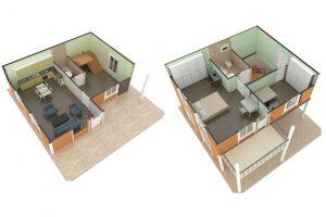 112 m2 Prefabrik Dublex Ev Plan A