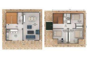 114 m2 Prefabrik Dublex Ev Plan B