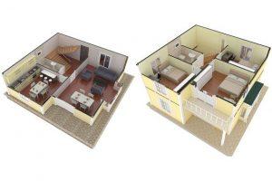 124 m2 Prefabrik Dublex Ev Plan A