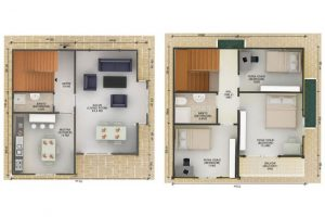 124 m2 Prefabrik Dublex Ev Plan B