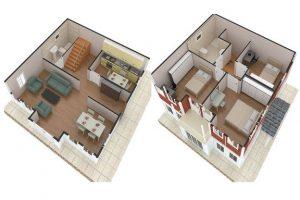 125 m2 Prefabrik Dublex Ev Plan A