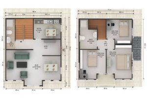 125 m2 Prefabrik Dublex Ev Plan B
