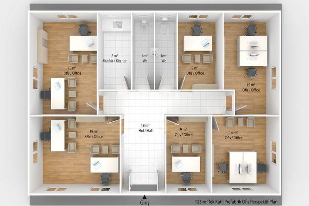 125 m2 Prefabrik Ofis & Yönetim Binası Plan B