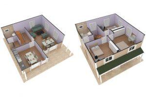 127 m2 Prefabrik Dublex Ev Plan A
