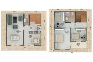 130 m2 Prefabrik Dublex Ev Plan B