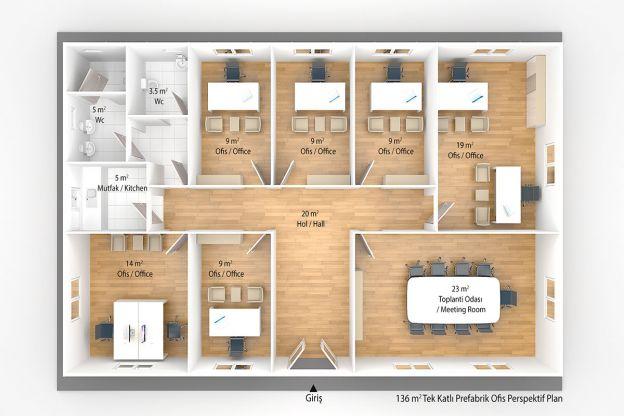 136 m2 Prefabrik Ofis & Yönetim Plan