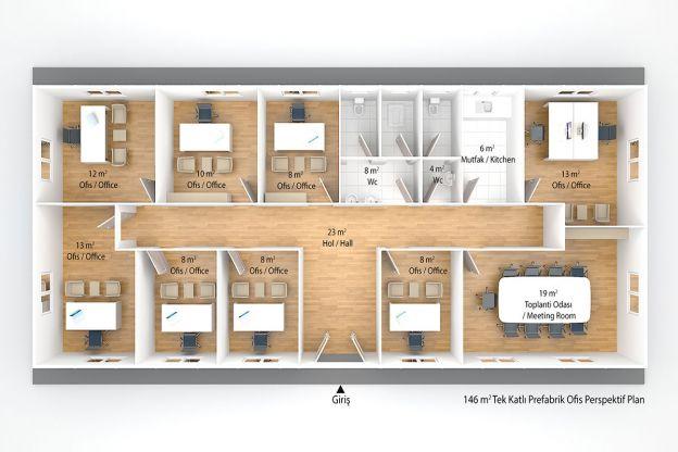 146 m2 Prefabrik Ofis ve Yönetim Binası Plan A