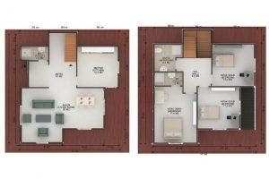 147 m2 Prefabrik Dublex Ev Plan B