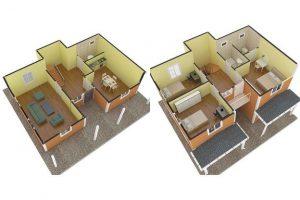 148 m2 Prefabrik Dublex Ev Plan A