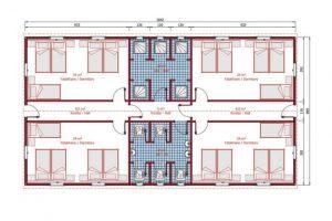 148 m2 Prefabrik Yatakhane Plan