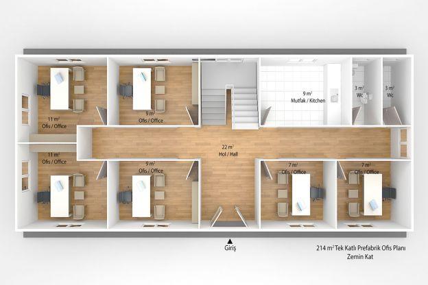 214 m2 Prefabrik Ofis & Yönetim Zemin Kat