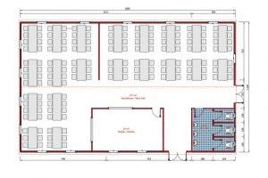 217 m2 Prefabrik Yemekhane Plan