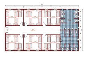 232 m2 Prefabrik Yatakhane Plan