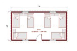 30 m2 Prefabrik Yatakhane Plan