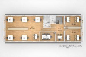 463 m2 Prefabrik Ofis & Yönetim Binası 1nci Kat