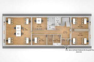 463 m2 Prefabrik Ofis & Yönetim Binası Plan Zemin Kat