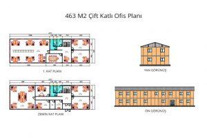 463 m2 Prefabrik Ofis & Yönetim Binası Yan & Ön