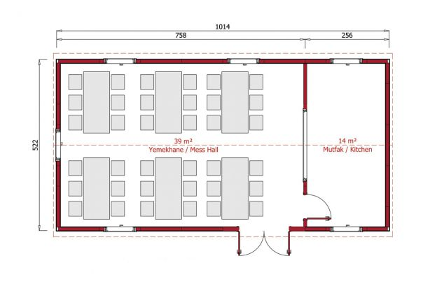 53 m2 Prefabrik Yemekhane Plan