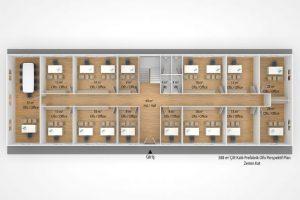 588 m2 Prefabrik Ofis & Yönetim Binası Plan 1nci Kat