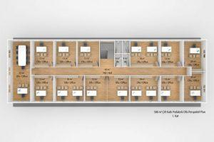 588 m2 Prefabrik Ofis & Yönetim Binası Plan Zemin Kat