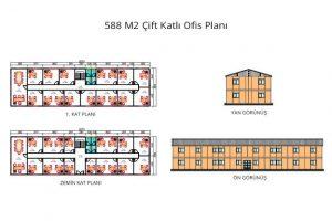 588 m2 Prefabrik Ofis & Yönetim Binası Yan & Ön