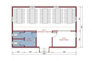 65 m2 Prefabrik-Yemekhane Plan