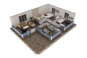 73 m2 Prefabrik Ev Plan B