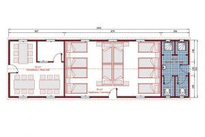 86 m2 Prefabrik Yatakhane Plan