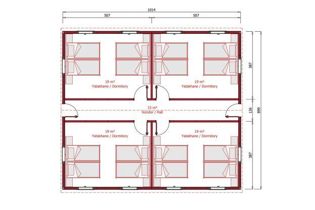 91 m2 Prefabrik Yatakhane Plan
